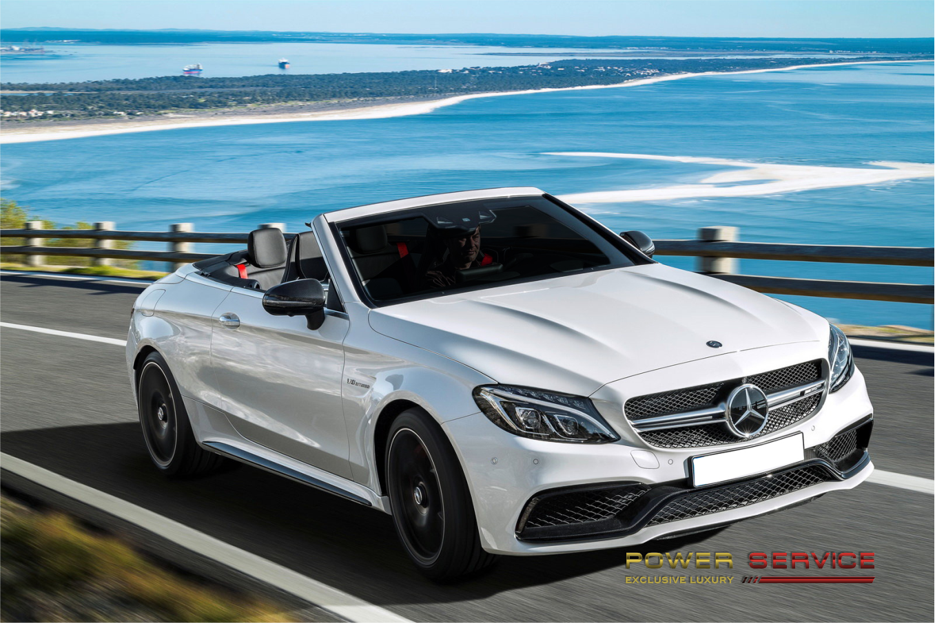 Rent Mercedes C63 AMG S Cabrio in Forte dei Marmi - Power Service Luxury Car Hire in Italy and Europe